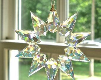 "NEW - Preciosa AB Crystal Star Pendant Suncatcher, For Home or Car Window, Czech Bohemian Crystal, Truly Breathtaking - ""SIRIUS"""