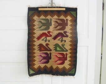 Vintage Boho Tapestry, Tribal Tapestry, Birds Tapestry, Mid Century Modern Tapestry, Bohemian Tapestry, Double sided Wall Hanging
