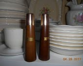 Vintage Retro Wood and metal  Salt and Pepper Shakers
