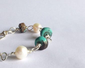 Turquoise and Pearl Link Chain Bracelet