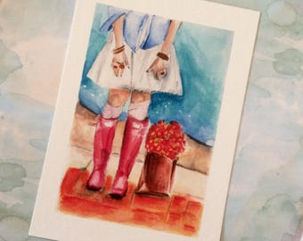 Print of Original Watercolour Boot Illustration Titled Pink Boots and Flowers