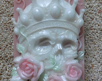 """You are buying a soap - """"Skeleton Rose Plaque"""" hand paint soap w/essential oil"""