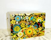 Vintage Recipe Box, Metal 3 x 5 Index Card Holder, Retro Flower Power, Kitchen Decor, Office Storage, Organization