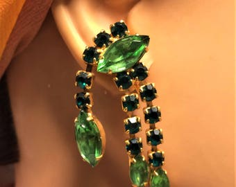 Vintage Green Screw Back Dangle Earrings with Marquise and Round Rhinestones in 2 Shades of Green. Unique Shape and 2 Inches Long (D13)