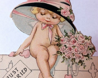 Vintage Die Cut Place Card 1930s Just Married Little Naked Girl On Suitcase Ephemera