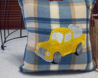 1031  Tooth Fairy Pillow Embroidered on Blue and Tan Plaid Fabric