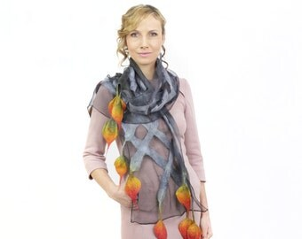 scarf, wrap, shawl, hand made, silk, wool, handpainted, felted, gray, gift, outfit, accesorise, colourful