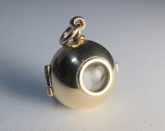Solid 9K yellow gold ORB LOCKET with gold vermeil chain