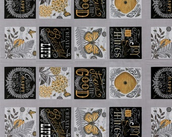 Bee Inspired Pebble Grey 19790 12 Panel | 100% Cotton Quilting fabric | Moda fabric