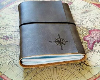 explorer journal with maps a travel journal  - charcoal gray faux leather - wanderlust adventure journal - tremundo