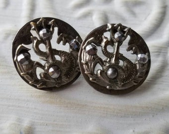 Vintage Button-2 matching open work  molded metal, Victorian, pewter design (feb  325 17)