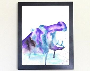 Hippopotamus Spirit Totem Animal Art Print Watercolor 8x10