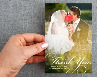 """50+ Wedding Thank You Postcards with photo, custom message, """"Julianne Style"""""""