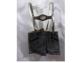 Vintage Authentic Lederhosen Boys Girls Gray Suede Leather Shorts Folk
