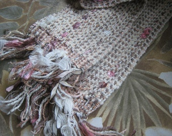 "Wool Scarf Handwoven, Coat Scarf Ribbon Cream Beige Pink, Dense Tightly Woven, 48"" x 5"" Pattern"