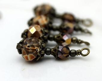Copper Crystal Rondelle and Copper Czech Beaded Dangle Charm Drop Pendant, Earring Dangle