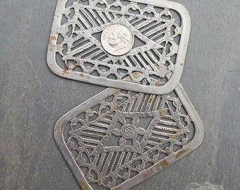 Vintage Silver Plated Steel Stamping with Rose - Large Tarnished Rectangle Metal Filigree, Scrapbooking, Jewelry Design, Leathercraft (2 pc)