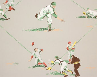 1950s Vintage Wallpaper Baseball Team Players Dugout on Gray by the Yard