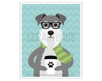 221D Dog Print - Schnauzer Holding Paper Coffee Cup Wall Art Print - Coffee Wall Art - Coffee Print - Schnauzer Print - Schnauzer Drawing