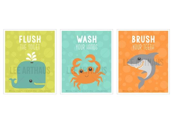 16S Bath Decor - Sea Life Bathroom Print Set - Set of 3 Prints - Whale Art - Crab Print - Shark Print - Brush Flush Wash -  Bath Wall Art