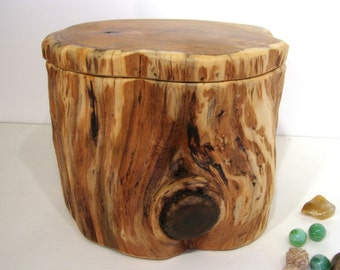 HOLDING for niseepoo2, Pacific Yew Tree Trunk Box, cremation urn, pet urn, wooden jewelry box, 5th wedding anniversary, retirement gift