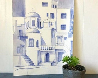 vintage watercolor painting - Greece Mediterranean architecture - blue white wall decor