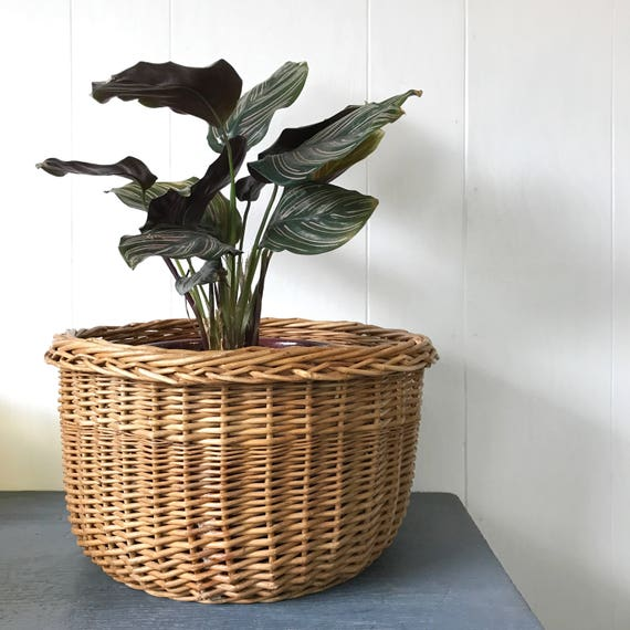 large rattan basket - round wicker home storage - plant basket - toy basket - wood holder
