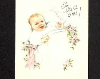 Vintage Gibson Greeting Card - It's a Girl