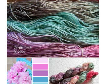 "Size 40 ""Silent Hues"" hand dyed thread 6 cord cordonnet tatting crochet cotton"