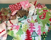 Destash Scrap pack of mostly Designer Christmas Fabrics, children crafts, quilting, small projects over 1 lb