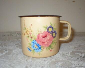 Enamelware Cup Graniteware Coffee Mug Floral Cup Pink Rose Cup Yugoslavia Vintage