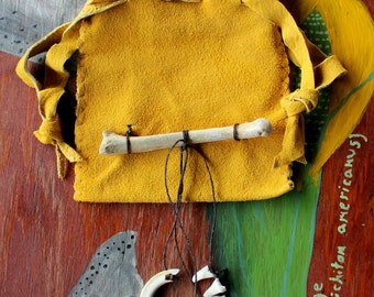 Gold deerskin suede leather drawstring pouch with bones and teeth bag for tarot runes dice