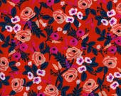 Painted Roses Orange - Wonderland - RAYON - Anna Bond Rifle Paper Co - Cotton + Steel - 8024-15