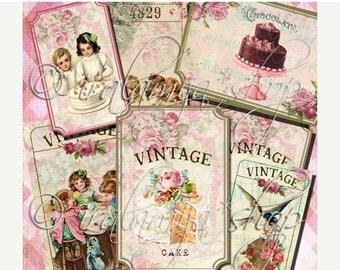 SALE VINTAGE  TICKETS Collage Digital Images -printable download file Digital Collage Sheet Vintage Paper Scrapbook
