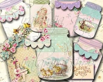 SALE EASTER JARS Collage Digital Images -printable download file Scrapbook Printable Sheet