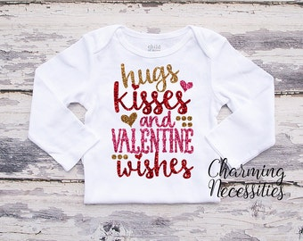 Baby Girl Valentines Day Shirt, Coming Home, Toddler Girl Shirt, Hugs Kisses Valentines Wishes, by Charming Necessities Long or Short Sleeve