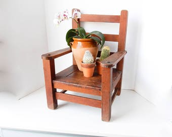 Child Chair, Oak Chair, Vintage Children Chair, Hand Made Oak Chair