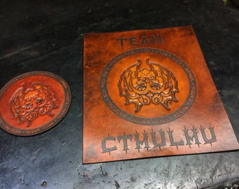 Leather Cthulhu patch and wall art - summon your god