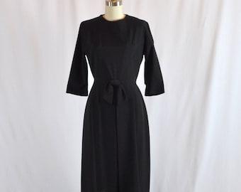 "Vintage 1950s Dress | 50s Cocktail Dress | Vintage Party Dress | LBD Little Black Dress | Lora Lenox | 27"" Waist | Medium"