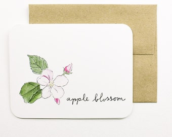 Apple blossom card with envelope | Blossom | Spring flower | Apple | Summer | Greeting card | Thank you card