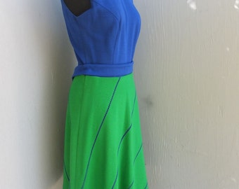 Vintage 1970s LANZ ORIGINAL Sleeveless High Neckline Dress, Knit Dress, Green and Blue, Career or School Day Dress