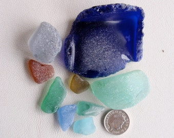 English sea glass colour collection (CHIPPED) huge blue, pale blue,grey,teal,olive and seafoam