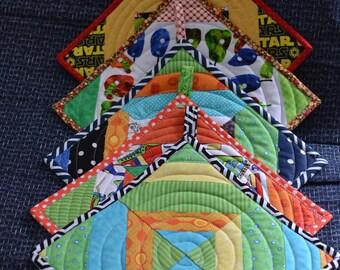 Colorful Strip-quilted Potholder or Trivet