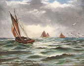 Amid the countless multitude of Waves, vintage postcard, antique seascape postcard Tuck's Oilette  The Following Tide