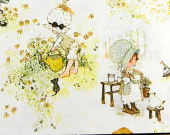 """Holly Hobbie Wrapping Paper by American Greetings 2 Sheets NIP Vintage 1970's Gift Wrap Plus 1 Single Sheet about 20 x 30"""" Each"""