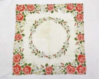 50s 60s Vintage Rose and Daffodil Floral Print Hankie