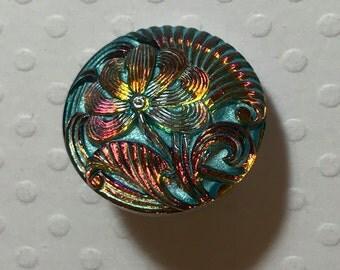 18mm Bohemian Czech Glass Button PinCushion Flower, Pink/Turquoise - B/038