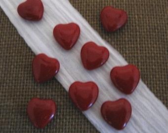 Czech Opaque Blood Red 15mm Heart Glass Beads - 10 Count