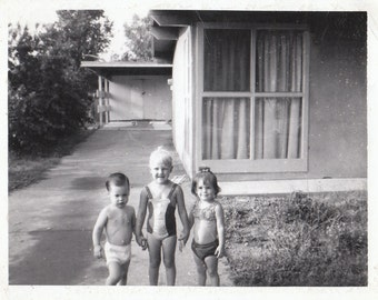Original Vintage Polaroid Photograph Snapshot Small Girls & Boy in Swimsuits Holding Hands 1960s-70s