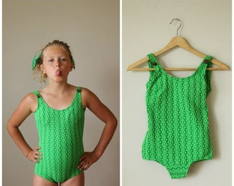 SPRING SALE NOS, 1960s Key Lime Swimsuit>>> Girls Size 8/10